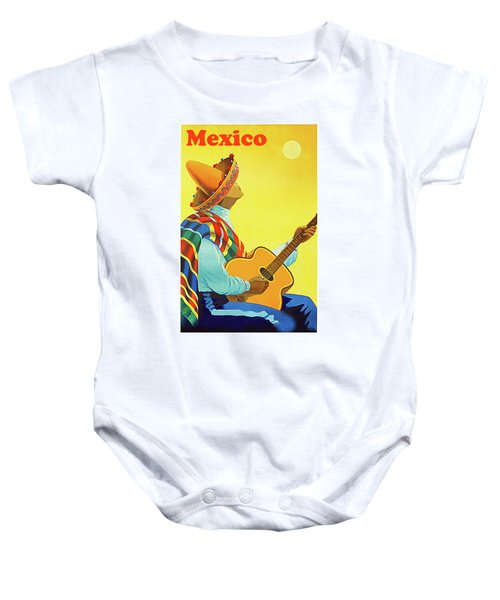 Mexico, Man In Sombrero Playing Classic Guitar Baby Onesie