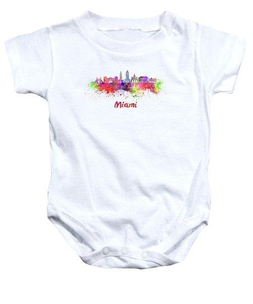 Miami V2 Skyline In Watercolor Baby Onesie
