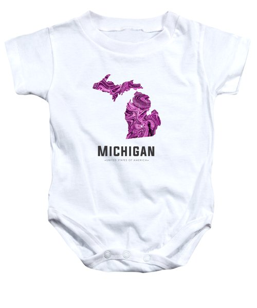 Michigan Map Art Abstract In Purple Baby Onesie