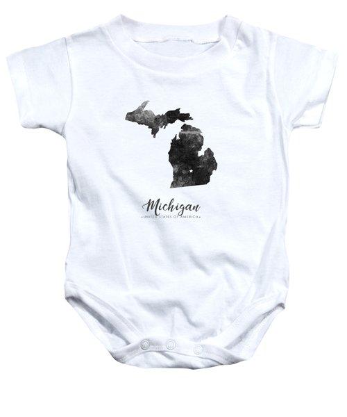 Michigan State Map Art - Grunge Silhouette Baby Onesie