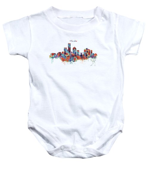 Milwaukee Watercolor Skyline Baby Onesie