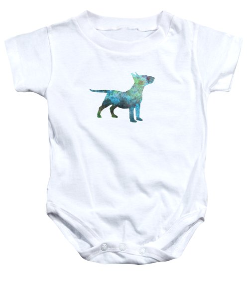 Miniature Bull Terrier In Watercolor Baby Onesie