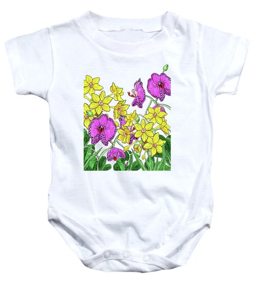 Miniature Daffodils And Orchids Watercolor Baby Onesie