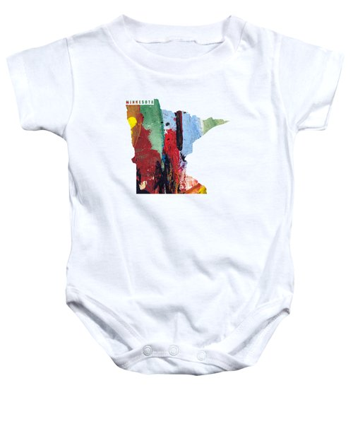 Minnesota Map Art - Painted Map Of Minnesota Baby Onesie