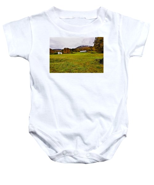 Misty Autumn At The Farm Baby Onesie