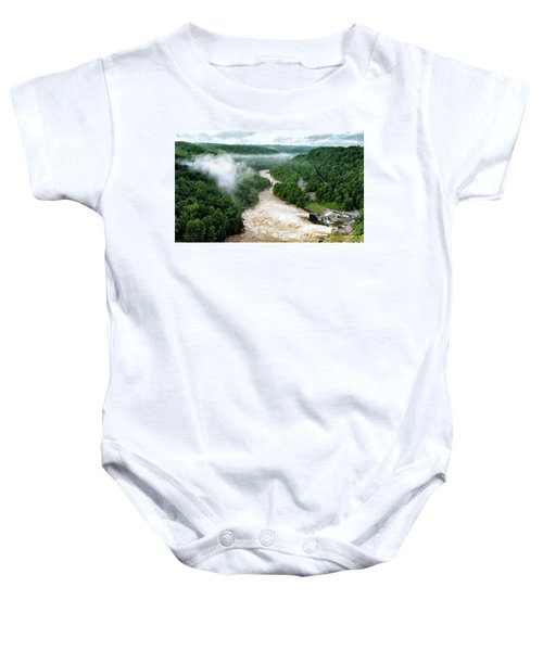 Misty Morning At Summersville Lake Dam Baby Onesie
