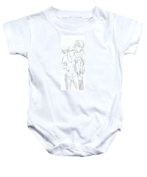 Modern Jive Ceroc Dancing Couple Pencil Drawing Baby Onesie