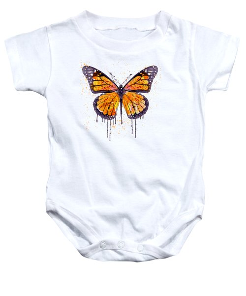 Monarch Butterfly Watercolor Baby Onesie by Marian Voicu