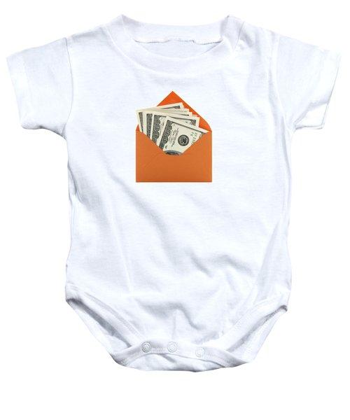 Money In An Orange Envelope Baby Onesie