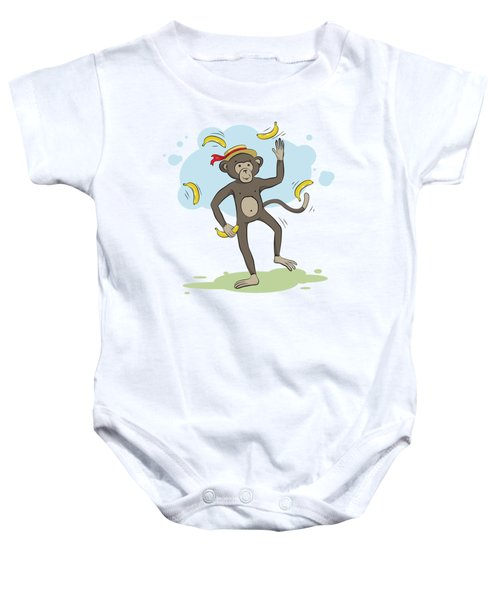 Monkey Juggling Bananas Baby Onesie by Elena Chepel
