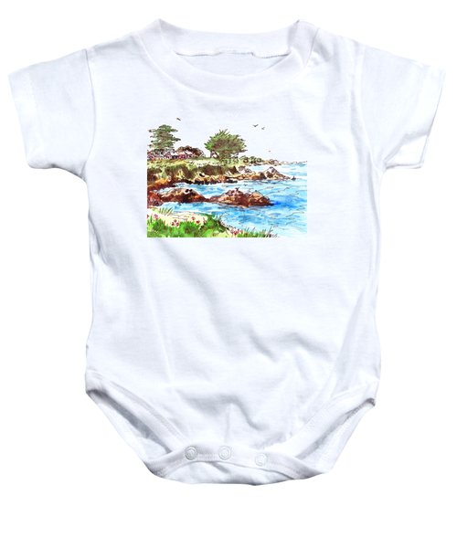 Baby Onesie featuring the painting Monterey Shore by Irina Sztukowski