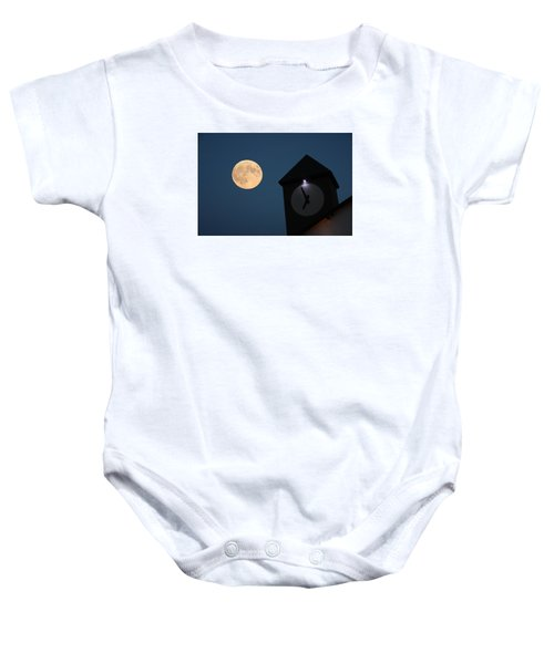 Moon And Clock Tower Baby Onesie