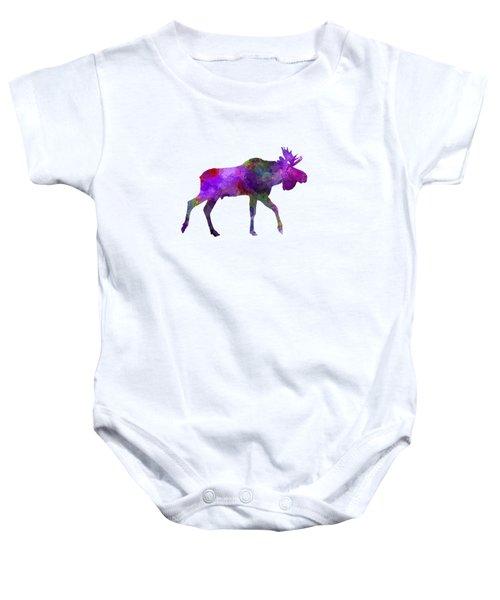 Moose 01 In Watercolor Baby Onesie by Pablo Romero