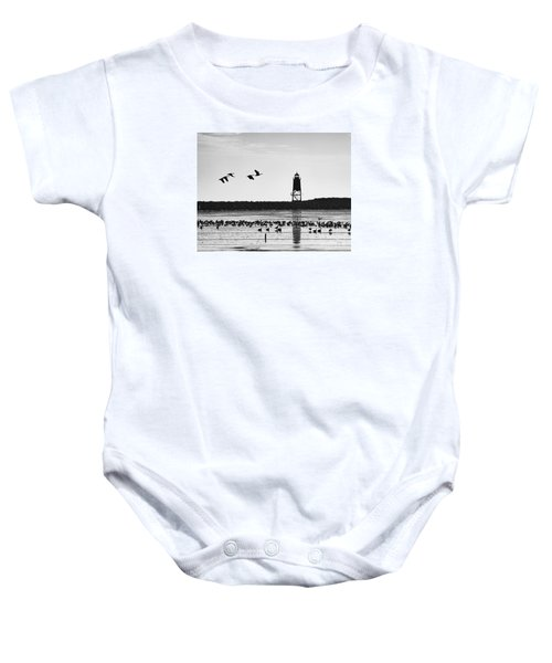 Baby Onesie featuring the photograph Morning At Racine Lakefront by Ricky L Jones