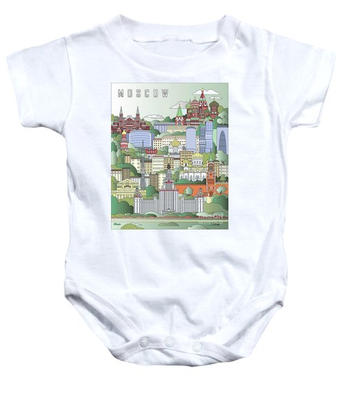 Moscow City Poster Baby Onesie by Pablo Romero