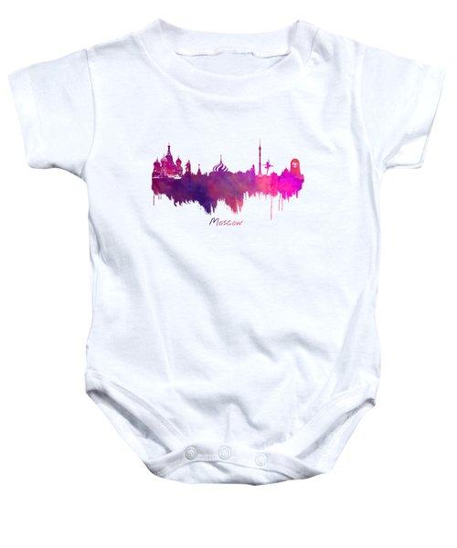 Moscow Russia Skyline Purple Baby Onesie by Justyna JBJart