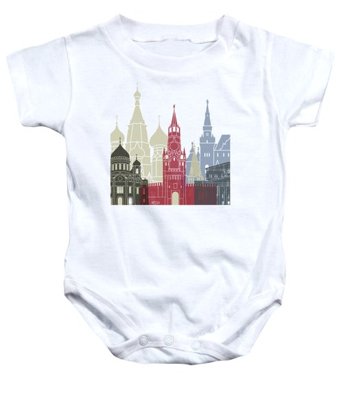 Moscow Skyline Poster Baby Onesie by Pablo Romero
