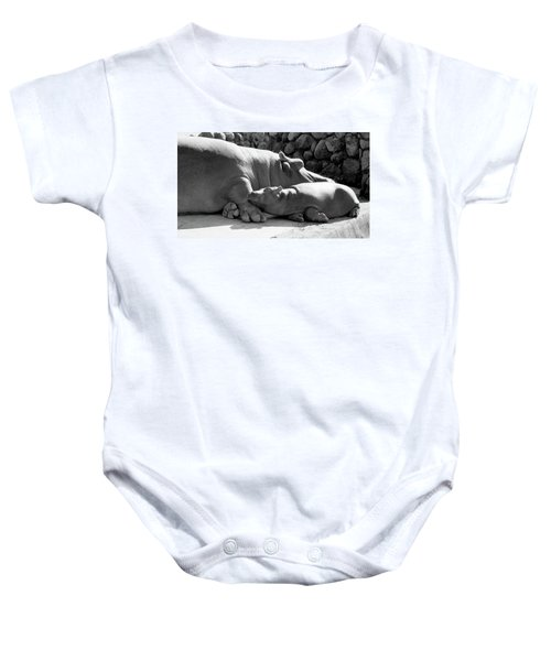 Mother And Baby Hippos Baby Onesie