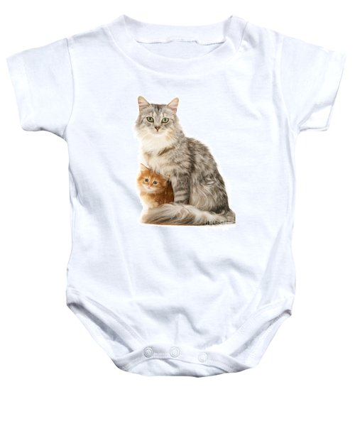 Mother Cat And Ginger Kitten Baby Onesie