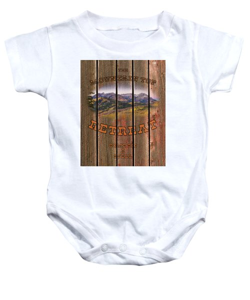 Mountain Top Retreat Baby Onesie