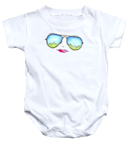 Mountain View Aviator Sunglasses Pop Art Painting Pink Lips Aroon Melane 2015 Collection Baby Onesie