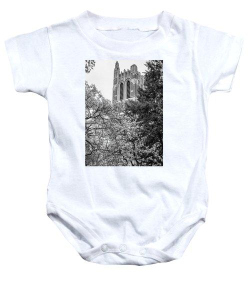 Msu Beaumont Tower Black And White 3 Baby Onesie