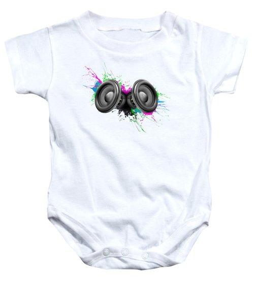 Music Speakers Colorful Design Baby Onesie