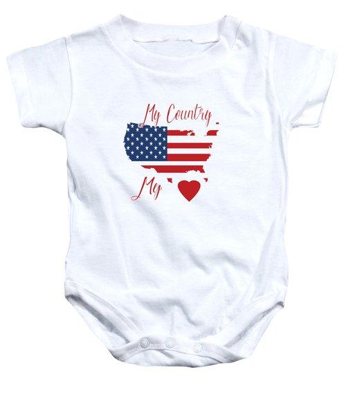 My Country My Heart Baby Onesie