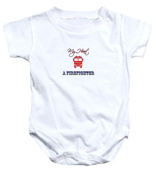 My Heart Belongs To A Firefighter Baby Onesie
