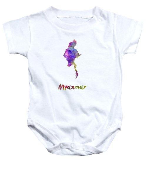 Myanmar In Watercolor Baby Onesie by Pablo Romero