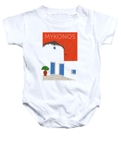 Mykonos Windmill - Orange Baby Onesie