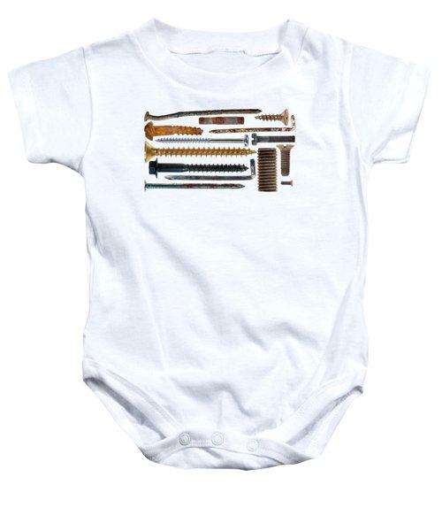 Nails, Hooks, Screws On Transparent Background Baby Onesie