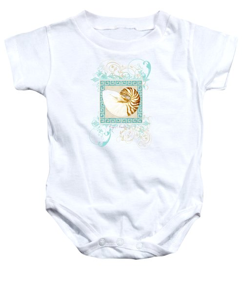 Nautilus Shell Greek Key W Swirl Flourishes Baby Onesie
