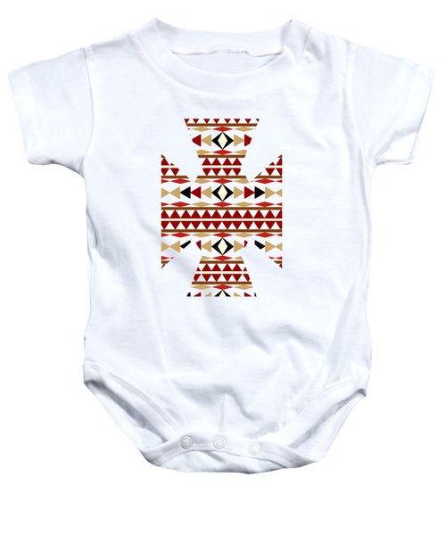Navajo White Pattern Art Baby Onesie by Christina Rollo