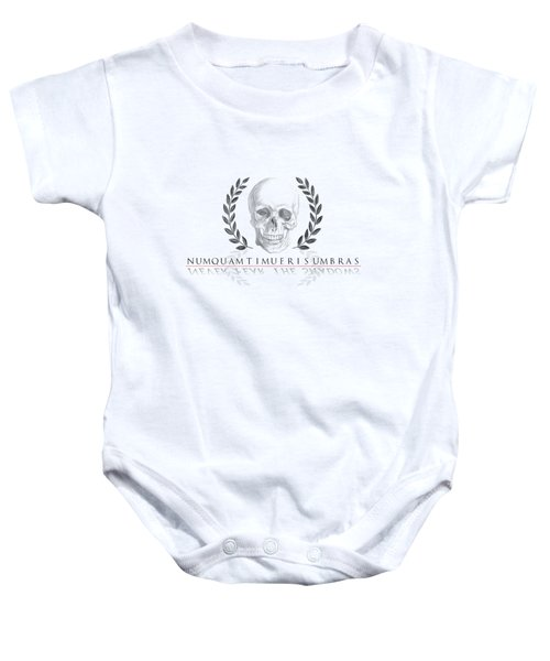 Never Fear The Shadows Stoic Skull With Laurels Baby Onesie