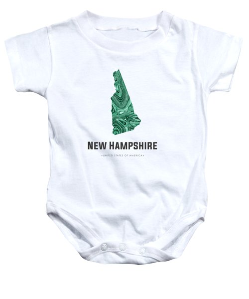 New Hampshire Map Art Abstract In Blue Green Baby Onesie