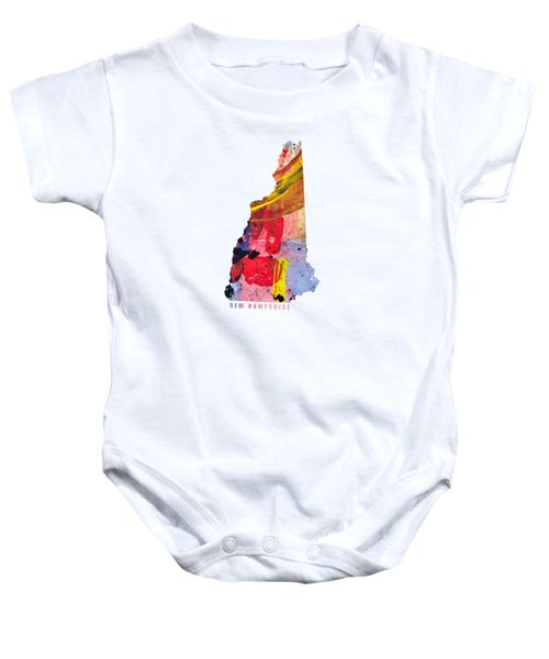 New Hampshire Map Art - Painted Map Of New Hampshire Baby Onesie