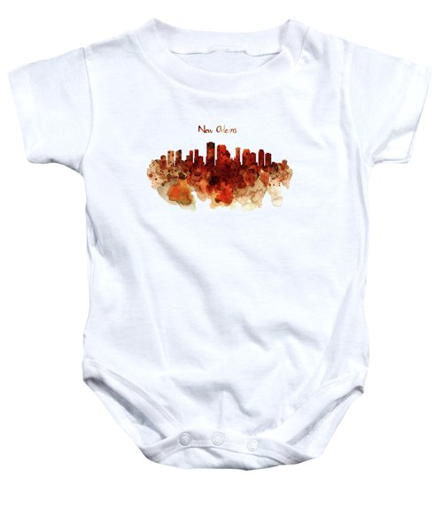 New Orleans Watercolor Skyline Baby Onesie by Marian Voicu