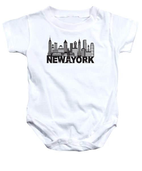 New York City Skyline And Text Black And White Illustration Baby Onesie