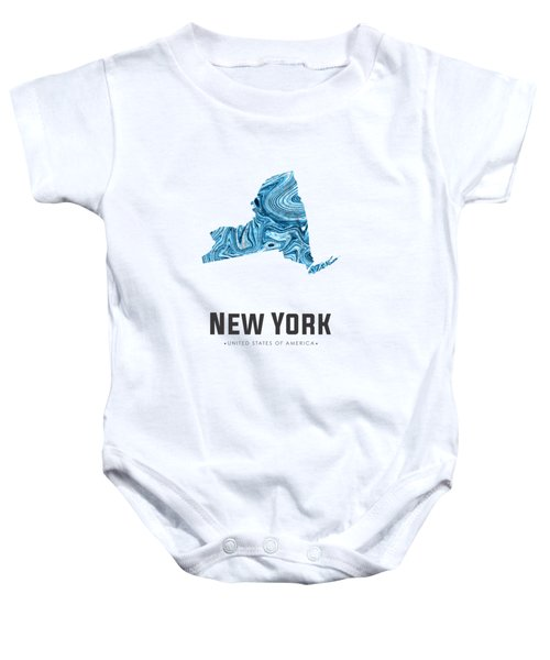 New York Map Art Abstract In Blue Baby Onesie