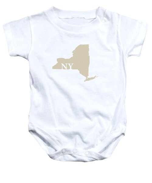 New York State Map With Text Of Constitution Baby Onesie