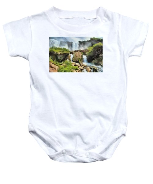 Baby Onesie featuring the digital art Niagara Falls Cave Of The Winds by Charmaine Zoe