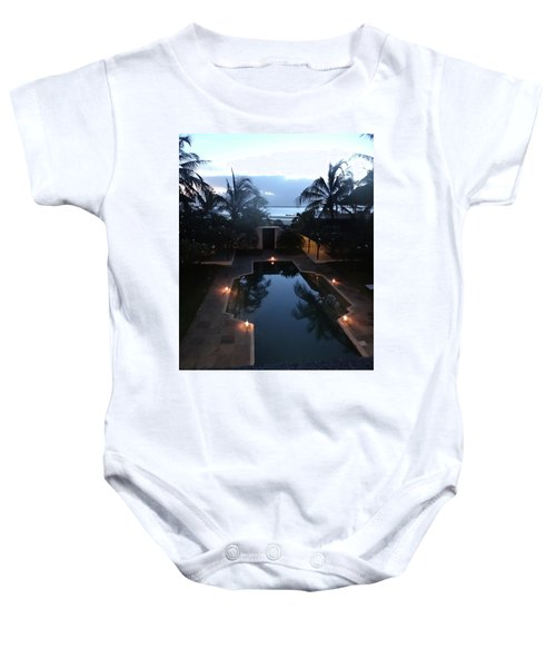 North - Eastern African Home - Sundown Over The Swimming Pool Baby Onesie