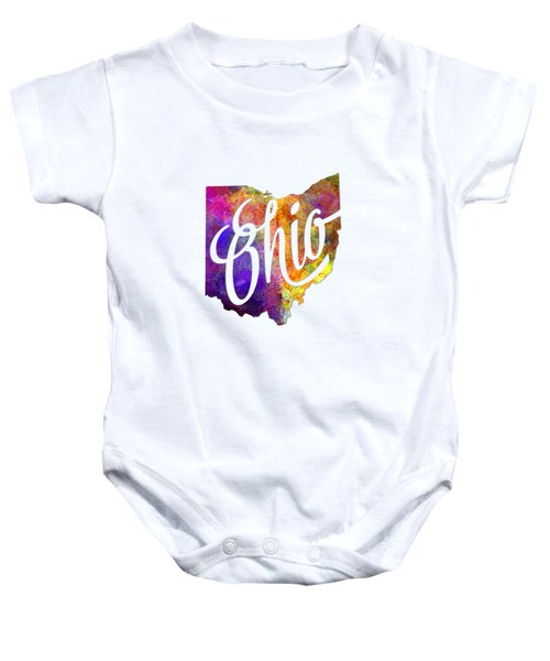 Ohio Us State In Watercolor Text Cut Out Baby Onesie