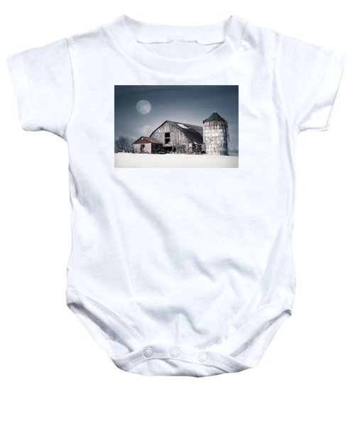 Old Barn And Winter Moon - Snowy Rustic Landscape Baby Onesie