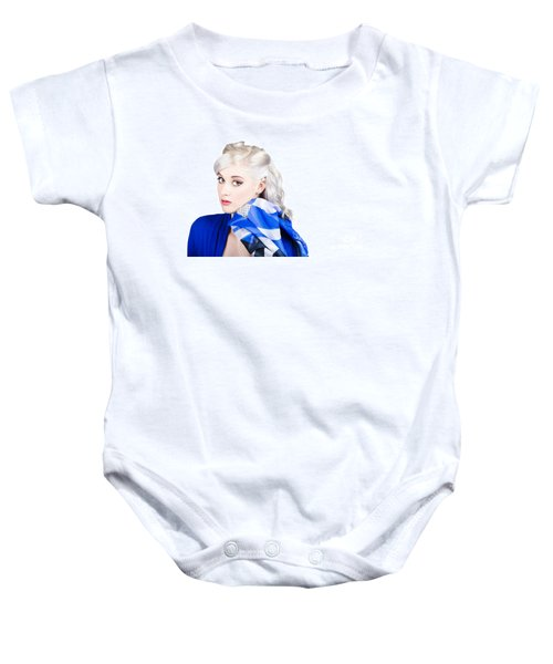 Old Fashion Portrait. Sexy Woman With Classic Hair Baby Onesie