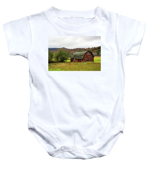 Old Red Adirondack Barn Baby Onesie