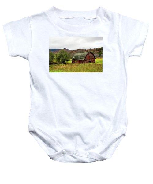 Old Red Adirondack Barn Baby Onesie