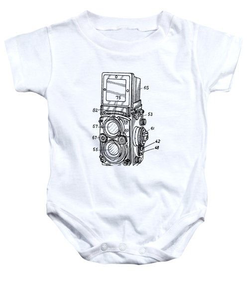 Baby Onesie featuring the digital art Old Rollie Vintage Camera T-shirt by Edward Fielding