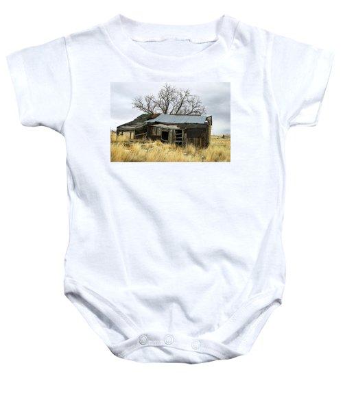 Old Wyoming Farmhouse Baby Onesie